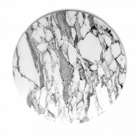 Runder Servierteller aus weißem Carrara-Marmor Made in Italy - Kamil