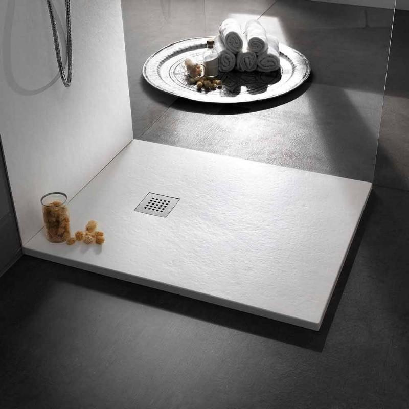 120x90 Duschwanne aus Stein-Effekt-Harz mit Stahlgitter - Domio