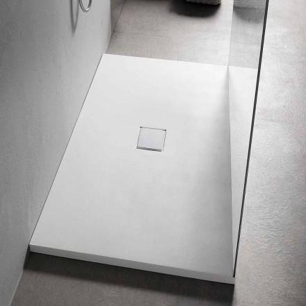 Duschwanne 160x80 cm aus weißem Harz mit Ablauf und Abdeckung - Estimo