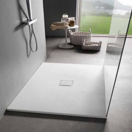 Quadratisches Design Duschwanne 90x90 in Samt-Effekt aus weißem Harz - Estimo