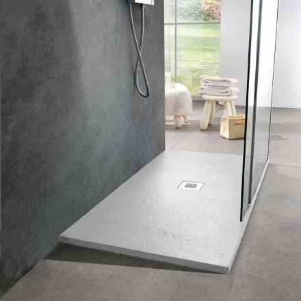 Duschwanne aus weißem Harz 140x70 mit Stahlgitter und Abfluss - Sommo