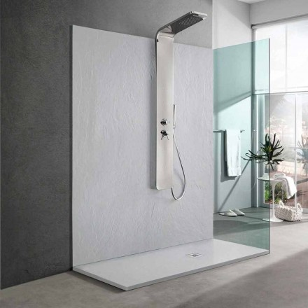 Duschwanne aus weißem Harz mit Schiefereffekt 170x70 Modernes Design - Sommo