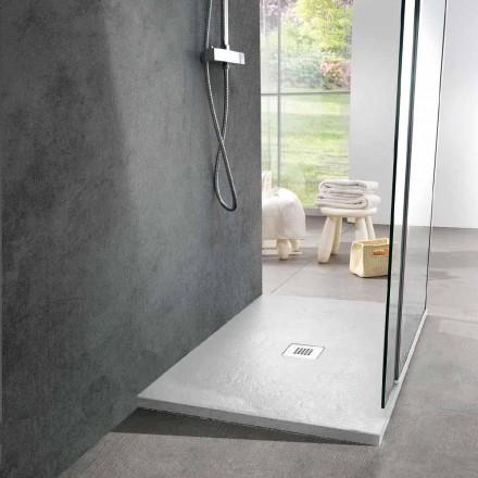 Duschwanne aus Kunstharz mit weißem Schiefereffekt 120x80 Modernes Design - Sommo
