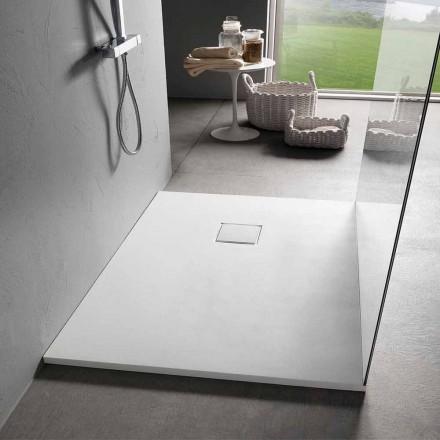 Duschwanne aus Kunstharz mit weißem Samteffekt 100 x 70 mit Ablaufabdeckung - Estimo