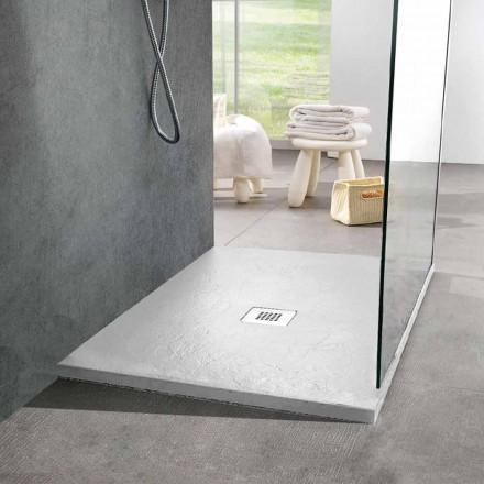 Moderne quadratische Duschwanne 90x90 in weißem Harzschiefer-Effekt - Sommo
