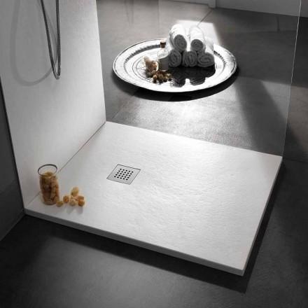 Moderne quadratische Duschwanne 90x90 aus Stein-Effekt-Harz - Domio