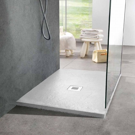 Quadratische Duschwanne 80x80 aus weißem Schiefer-Effekt-Harz und Stahl - Sommo