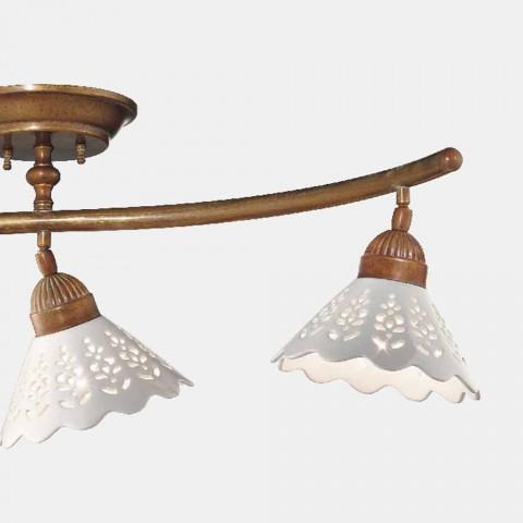 3-flammige Deckenlampe aus Messing und perforierter Keramik - Fiordipizzo von Il Fanale