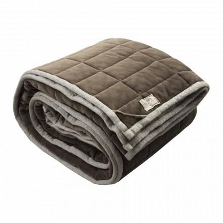 Plaid aus Baumwollsatin und Chenille mit Kreide-Lurex-Kante oder Rücken - Taupe