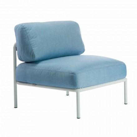 Zentraler modularer Sessel für den Außenbereich aus Metall und Stoff Made in Italy - Cola