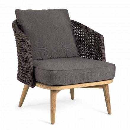 Outdoor-Sessel mit Seilrückenlehne und Teakbeinen, Homemotion - Chantall