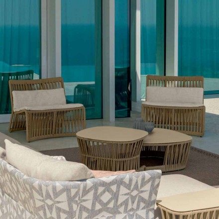 Cliff Talenti Outdoor-Sessel aus Seil und Stoff, Design Palomba