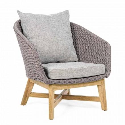 Outdoor-Sessel aus gewebtem Seil und Teakholz, Homemotion - Callum