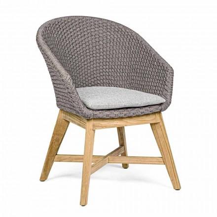 Outdoor-Sessel aus Holz und Seil mit Kissen, Homemotion, 2 Stück - Oskana