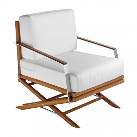 Entwerfen Sie einen Outdoor-Sessel aus Natur- oder Schwarzholz mit Kissen - Suzana