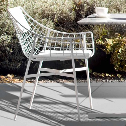 Design Outdoor-Sessel aus weißen Stahl Varaschin Summer Set