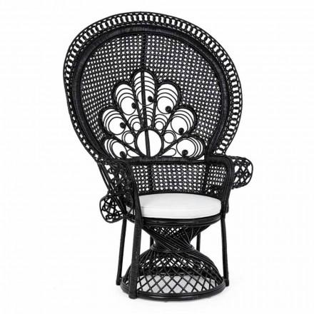 Luxus Design Garten Sessel für den Außenbereich in Schwarz Rattan - Serafino