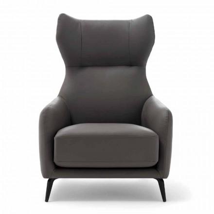 Leder Lounge Chair mit lackierten Metallfüßen Made in Italy - Walnuss