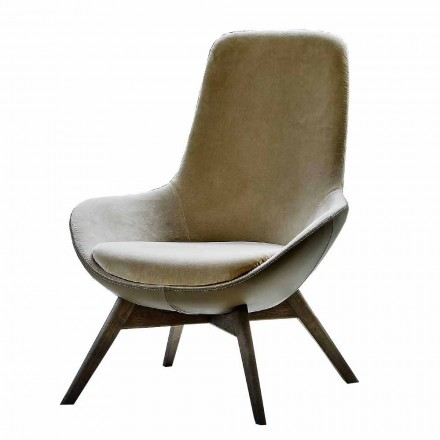 Wohnzimmer Sessel aus Leder und Stoff mit Holzsockel Made in Italy - Ama