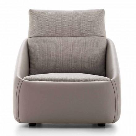 Wohnzimmer Sessel aus hochwertigem Leder und Stoff Made in Italy - Amarena