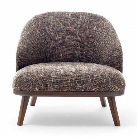 Stoff Lounge Chair mit Massivholzsockel Made in Italy - Pepina