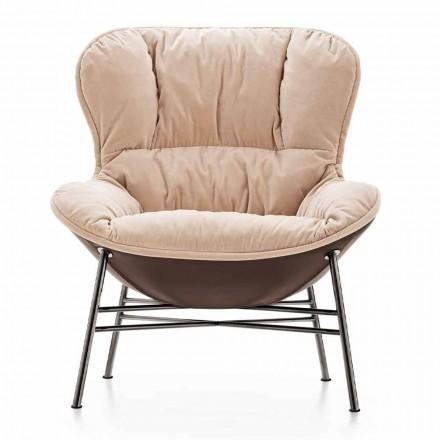 Wohnzimmer Sessel aus Leder und Stoff mit verchromter Basis Made in Italy - Litchi