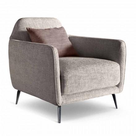 Wohnzimmer Sessel aus Stoff mit Metallfüßen Made in Italy - Cherry