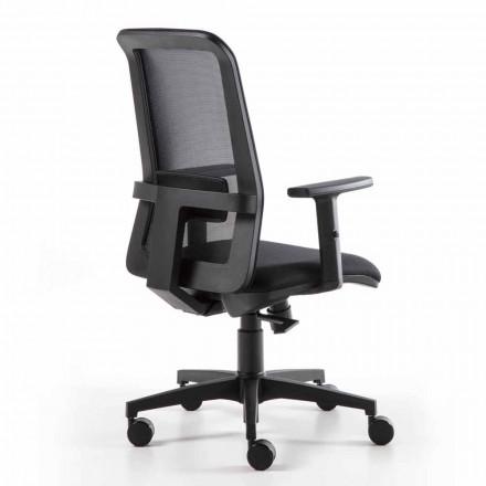 Drehbarer Büro-Sessel mit Gaslift aus technischem Stoff und Netz - Büro