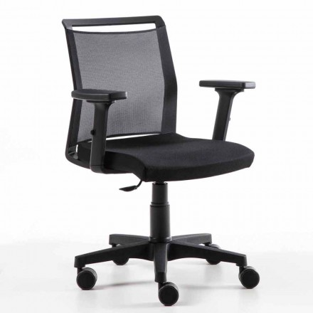 Drehbarer Büro-Sessel aus technischem Stoff und schwarzem Netz - Daria