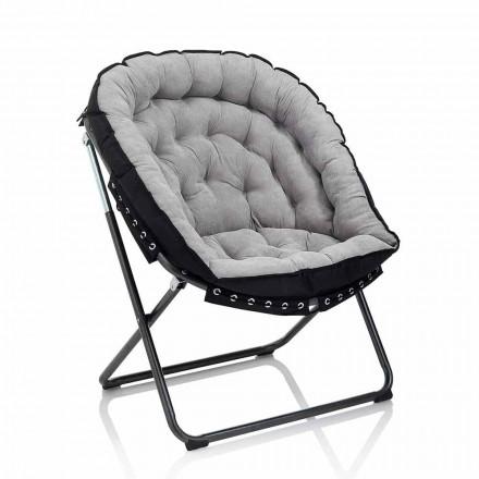Design Sessel aus hellgrauem Samt mit schwarzer Metallstruktur - Tronia