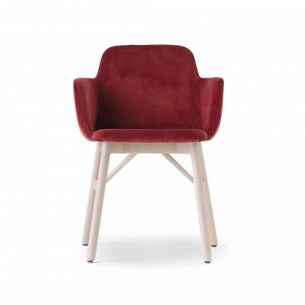 Hochwertiger Sessel mit Sitz aus Samt oder Stoff Made in Italy - Molde