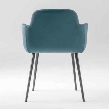Hochwertiger Sessel aus Leder und lackiertem Metall Made in Italy - Molde