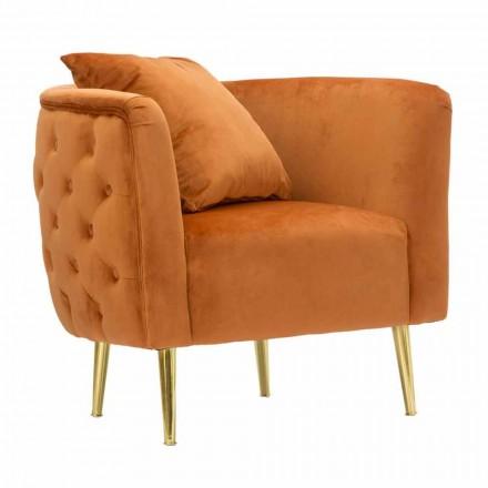 Modern Design Lounge Sessel aus Samt, Holz und Eisen - Ruthie