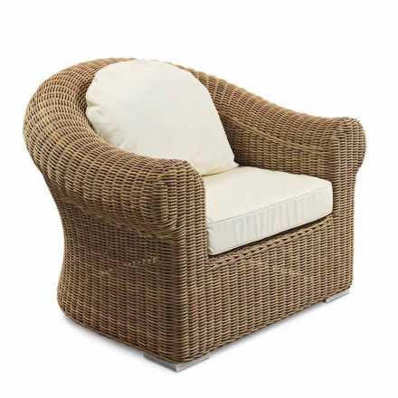 Outdoor-Sessel aus gewebtem synthetischem Rattan und weißem oder Ecru-Stoff - Yves