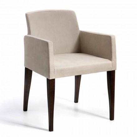 Sessel aus Kunstleder und Holz, modernes Design, Omega made in Italy