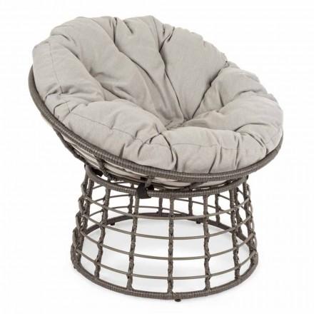Moderner Sessel aus Stahl und Kunstfaser mit Kissen - Moraviglia