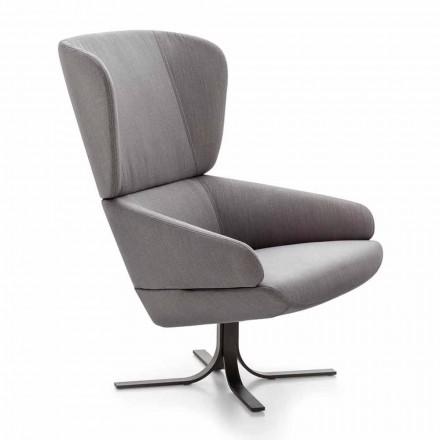 Stoff Lounge Sessel mit drehbarer Metallbasis Made in Italy - Liana