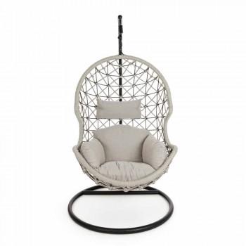 Aufhängender Outdoor-Sessel aus gewebtem Seil mit Stahlsockel - Soja