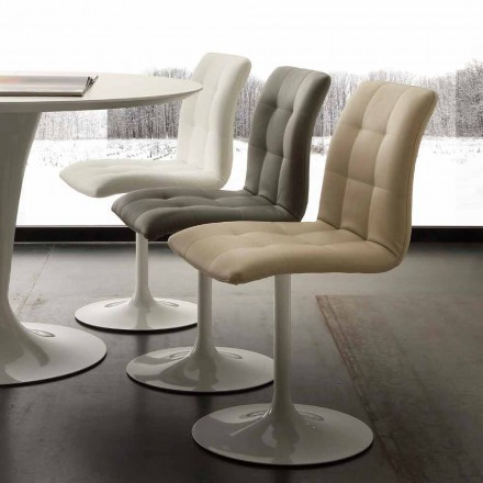 Sessel aus Stahl und Kunstleder drehbar Valencia in modernem Design