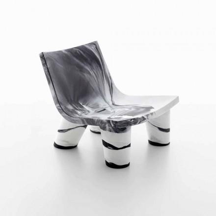 Outdoor-Lounge weißer und schwarzer Sessel, Slide Low Lita Anniversary