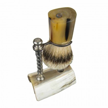 Bart-Kit mit Pinsel und Pinselhalter aus Ochsenhorn Made in Italy - Diplo