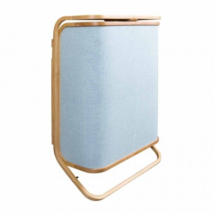 Moderner Wandwäschekorb aus marineblauem Stoff und Bambus Valenza