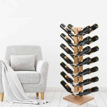 Flaschenhalter aus Holz Zia Gaia mit Säulendesign made in Italy