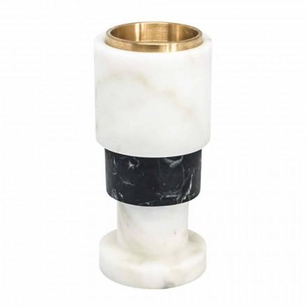 Niedriger zweifarbiger Kerzenhalter aus Marmor und Messing Hergestellt in Italien - Brett