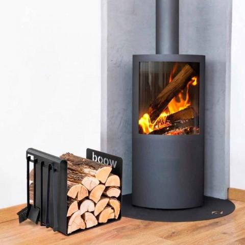 Brennholzhalter aus schwarzem Stahl mit 4 Werkzeugen Made in Italy - Phebe