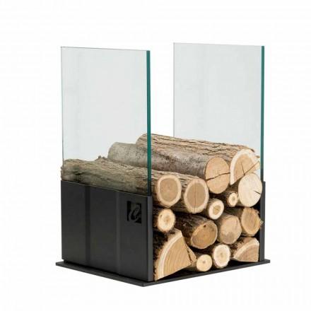 Kaminholzständer aus Temperglas und Stahl, modernes Design