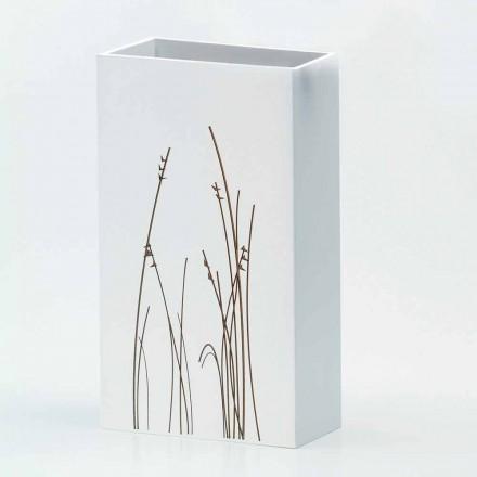 Weißer Schirmständer aus verziertem Holz Modernes Design Rechteckig - Filigran