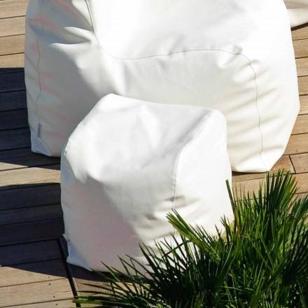 Cloud Trona Design Pouf aus weißem nautischem Öko-Leder, hergestellt in Italien