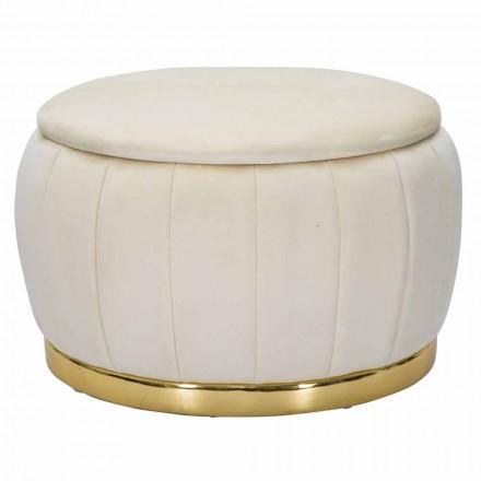 Runder Hockerbehälter aus modernem Design aus Holz und Stoff - Terence
