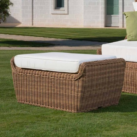 Hocker Outdoor Bank in gewebtem synthetischem Rattan Luxus Design - Yves